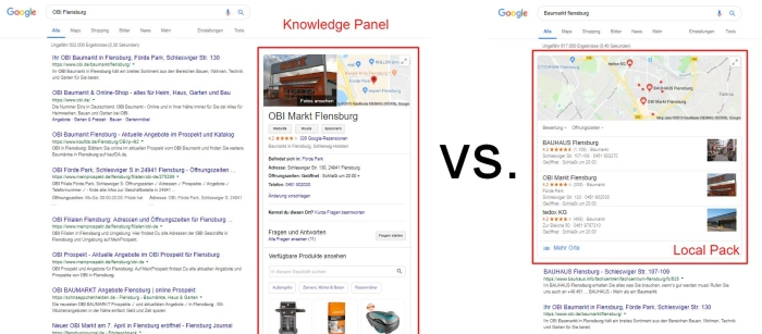 Bild: Knowledge Panel vs. Local Pack.