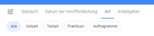 "Der Google Jobs Filter ""Art der Stelle""."