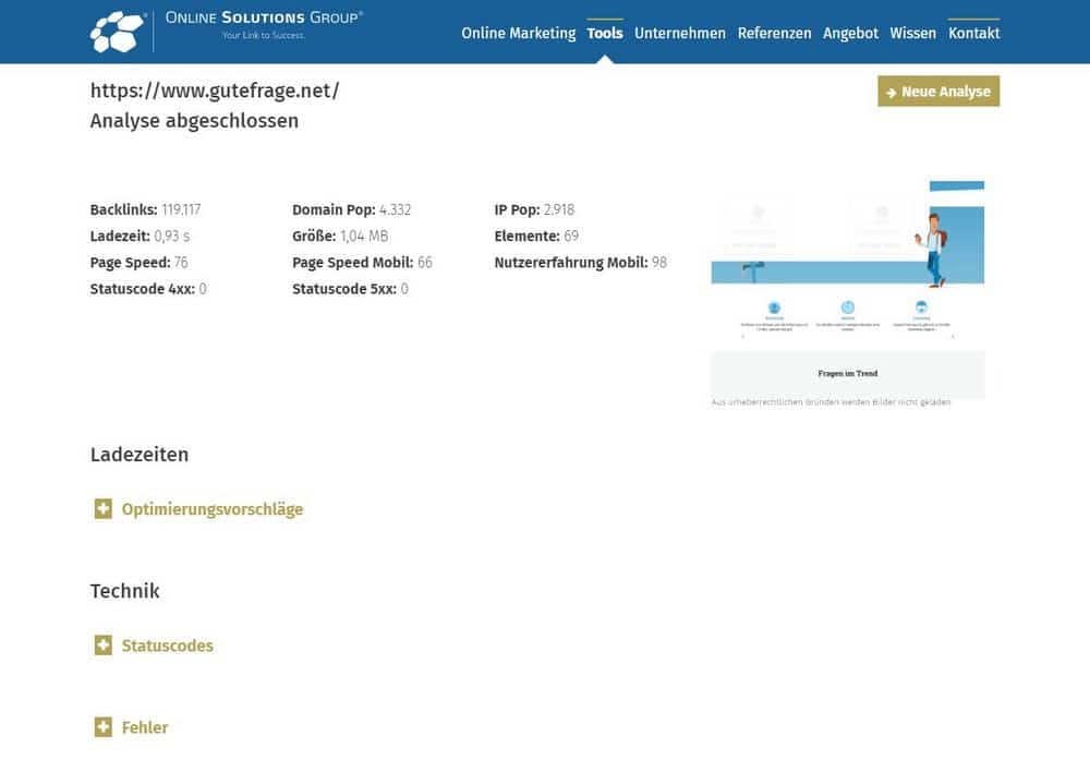Online Solutions Group SEO-Check Screenshot