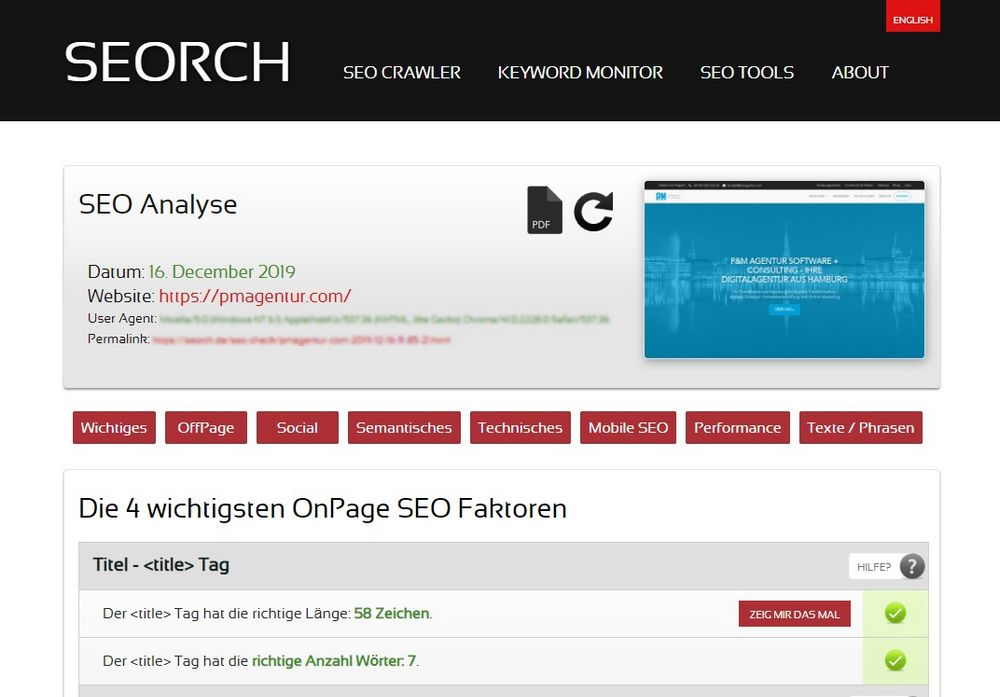 SEORCH SEO Check Screenshot