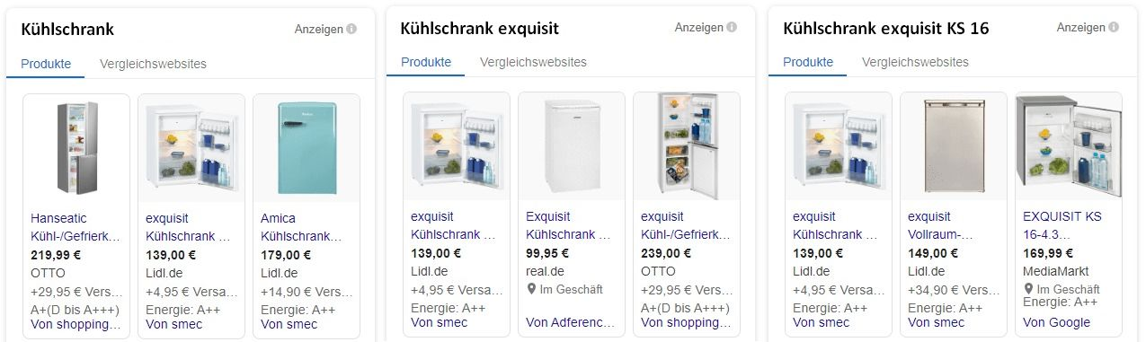 Google Shoppings Datenfeed Detailvergleich