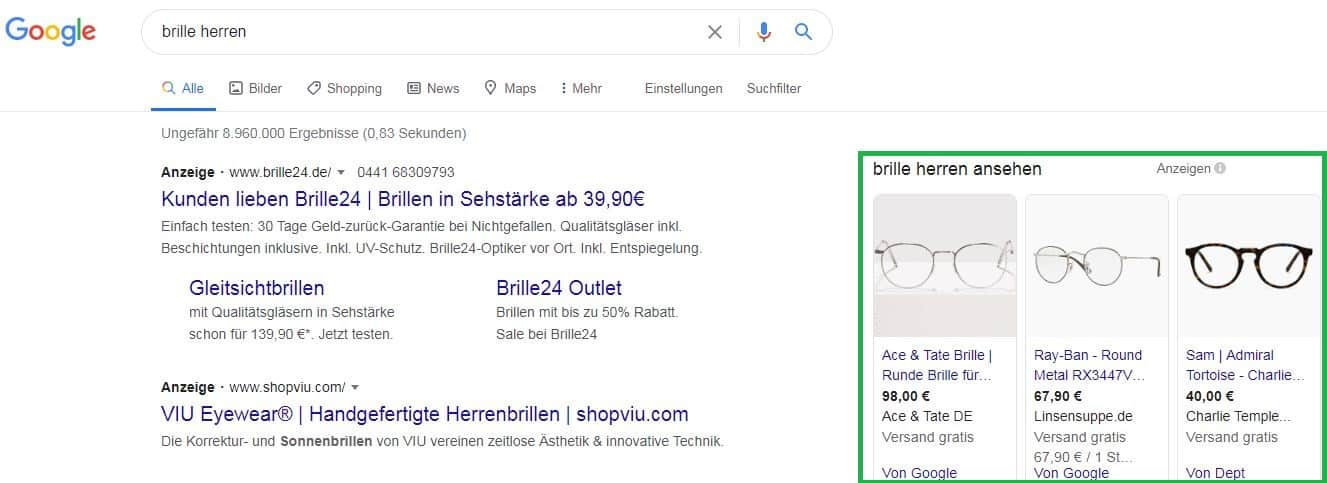 Brille Google Shopping Ads